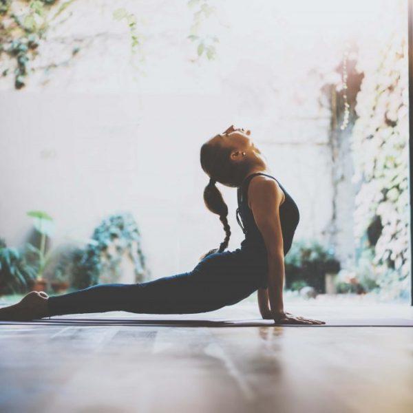A girl practicing yoga